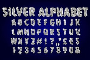 Vector Silver Alphabet Set