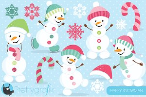 Happy PINK Snowman clipart