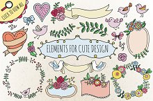 Elements for cute design