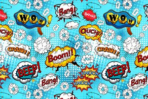 Comic bubbles seamless pattern