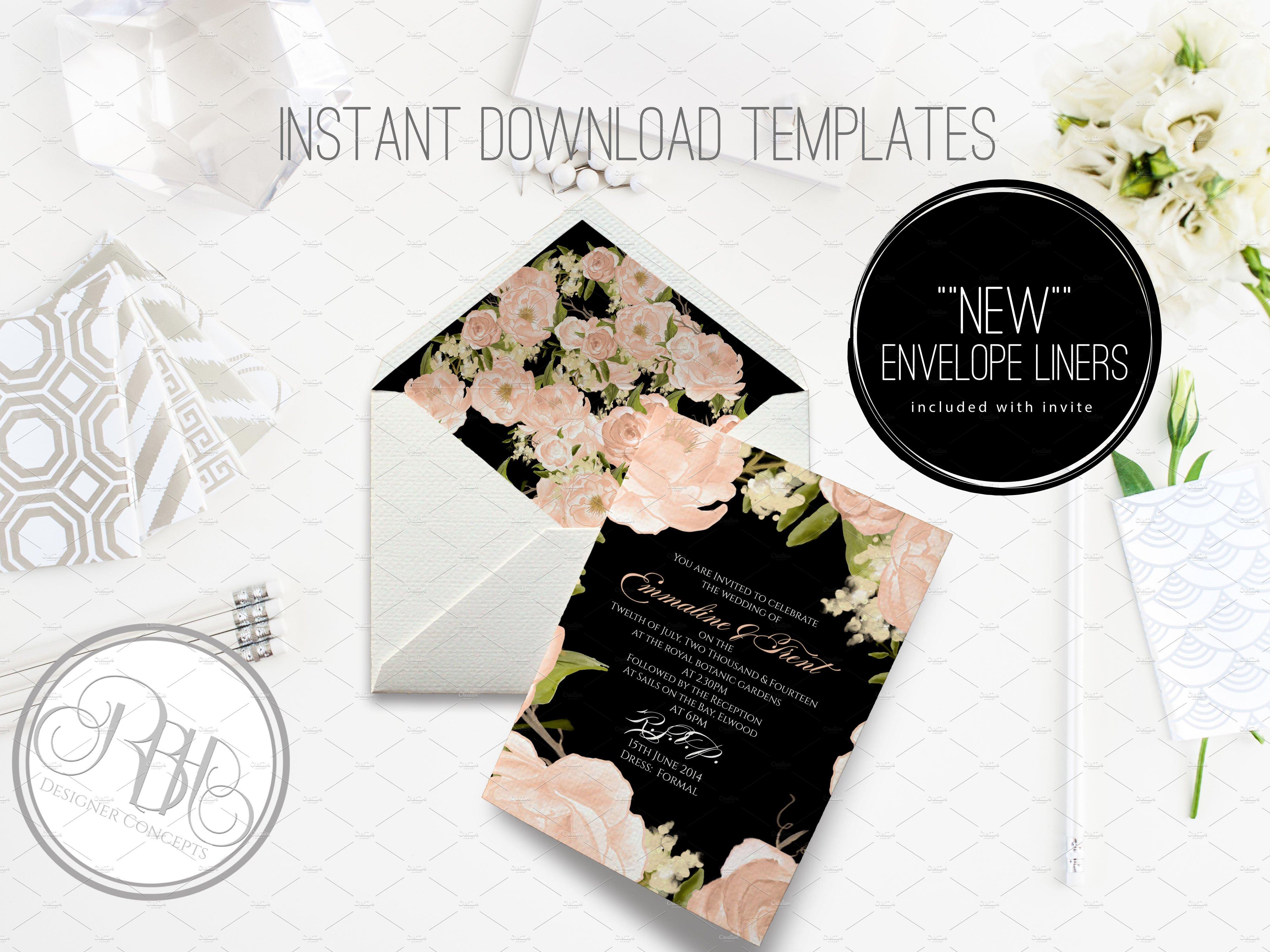 Peach peonies wedding invite invitation templates creative market pronofoot35fo Images