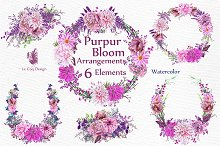 Watercolor Pink Wreaths Clipart