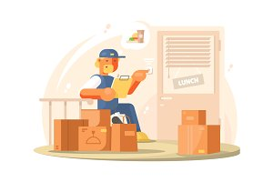 Uniformed deliveryman character