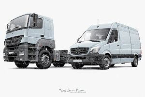 Two commercial vehicles