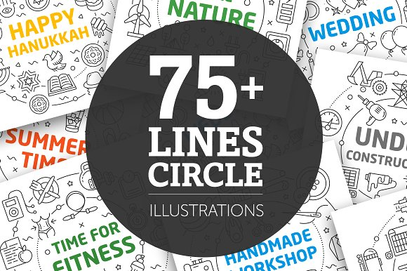 BIG SET LINES ILLUSTRATIONS (75+) in Illustrations