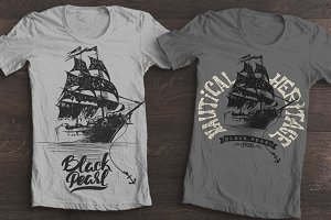 Hand drawing ship T-shirt Printing