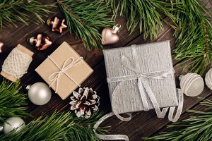 Gifts with bow and Christmas decorations