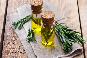 Natural rosemary essential oil for beauty and spa