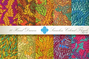 10 Colored Seamless Florals. Set #9