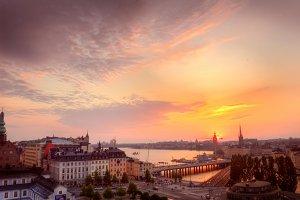Sunset over Stockholm.