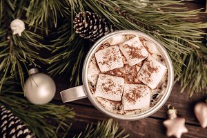 Marshmallow coffee on the Christmas background