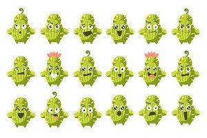 Cactus Cartoon Character Set