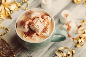 Hot drink with marshmallows and chocolate