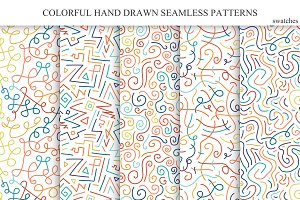 Hand drawn seamless color patterns.