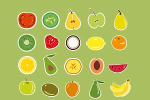 Stickers fruits and vegetables set