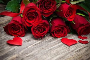Red roses  with  hearts