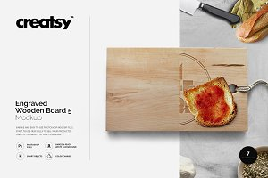 Engraved Wooden Board 5 Mockup