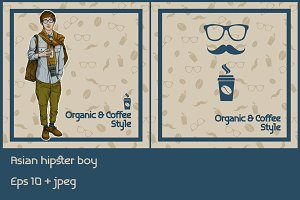 asian hipster man with coffee