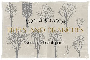 Hand drawn branches and trees pack