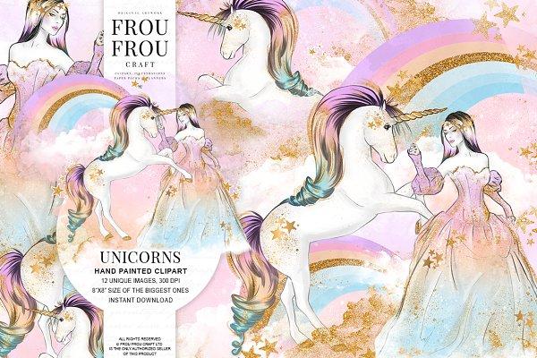 Princess and Unicorns Clip Art