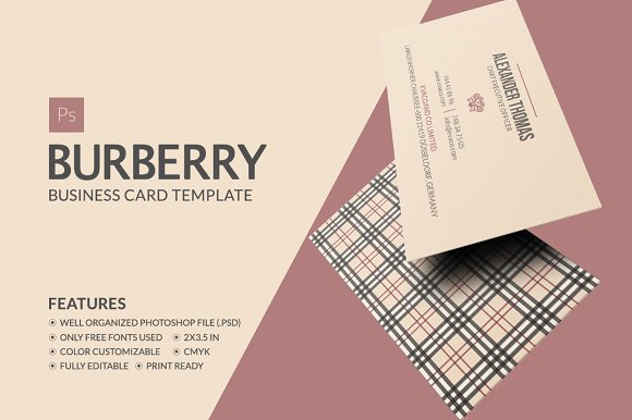 Burberry business card business card templates creative market burberry business card business cards reheart Image collections
