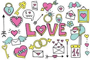 Valentines Doodle Clipart Set