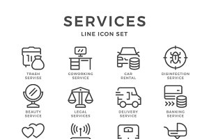 Set line icons of services