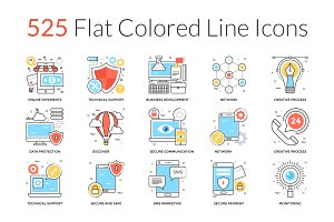 525 Flat Colored Line Icons
