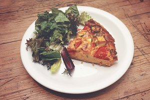 Pumpkin tart with salad