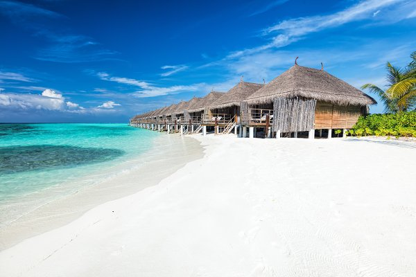 Beach and water villas on a small i…