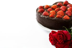 Heart shaped cake and roses