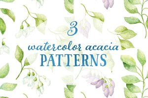 3 watercolor acacia patterns