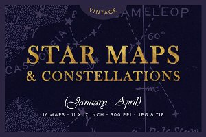 Vintage Star Maps 11x17in (Jan-Apr)