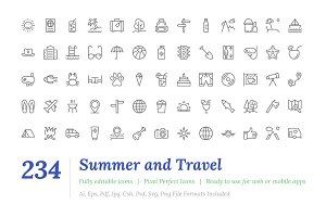 234 Summer and Travel Outine Icons