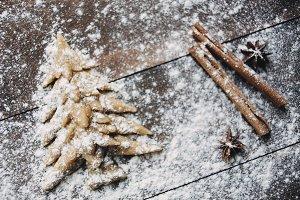 Christmas tree baking rustic background
