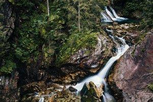 Waterfall with stones in forest, Sea Eye, Zakopane