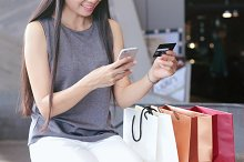 woman shopping online by credit card