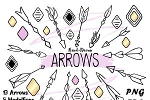 Tribal Arrows Clipart + Bonus!