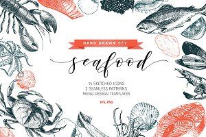 Seafood Hand Drawn Icon Set