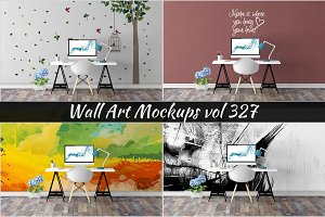Wall Mockup - Sticker Mockup Vol 327