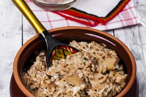 Russian traditional buckwheat with mushrooms