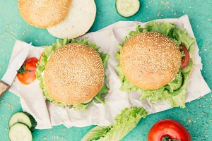 Appetizing burgers on green background