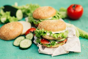 Appetizing burgers with ingredients