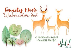 Family Deer Watercolor Set