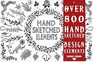 800+ Unique Hand-Sketched Elements