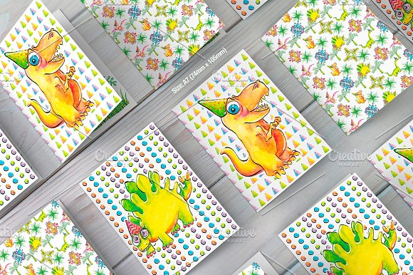 Dinosaur Birthday Card Collection Illustrations Creative Market – Birthday Card Collection