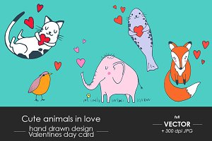 Cute animals in love. Set of 5