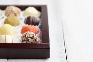 Truffle chocolates in box