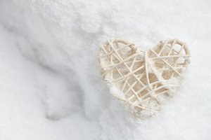 White valentine heart in snow