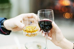 Cheers with Wine & Bourbon at Dinner